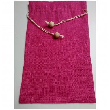Lininis maišelis (ryškiai rožinė spalva)