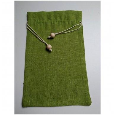 Lininis maišelis (žalia spalva)