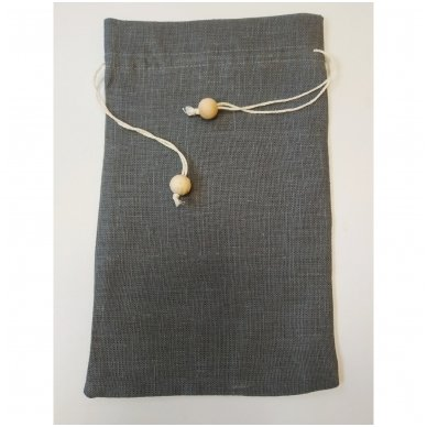 Lininis maišelis (tamsiai pilka spalva)