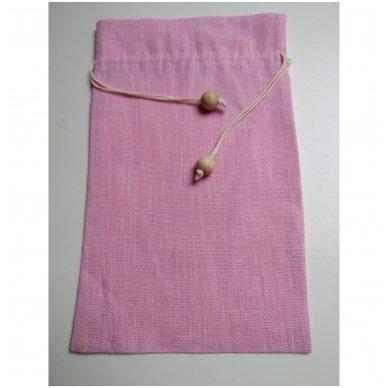 Lininis maišelis (rožinė spalva)